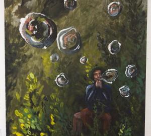 Målning av en person som sitter i gräset och blåser såpbubblor