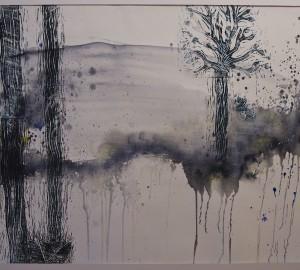 Akvarellmålning med blå/grå färgfläckar där små runda figurer går omkring.