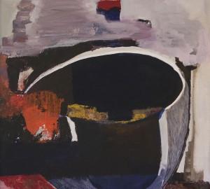 Abstrakt målning med vad som ser ut som en skål i genomskärning.