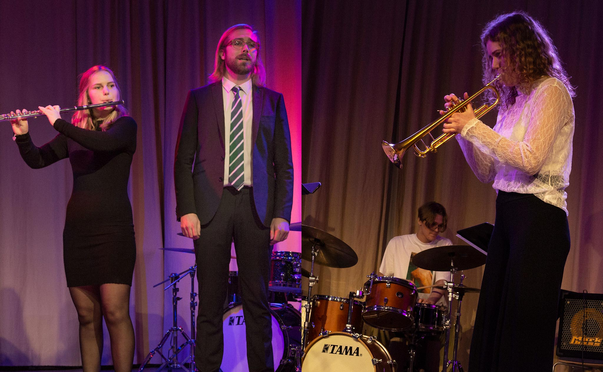 Collage med två bilder. I den ena spelar en person flöjt och en annan sjunger. I andra bilden spelar en person saxofon och en trummor.